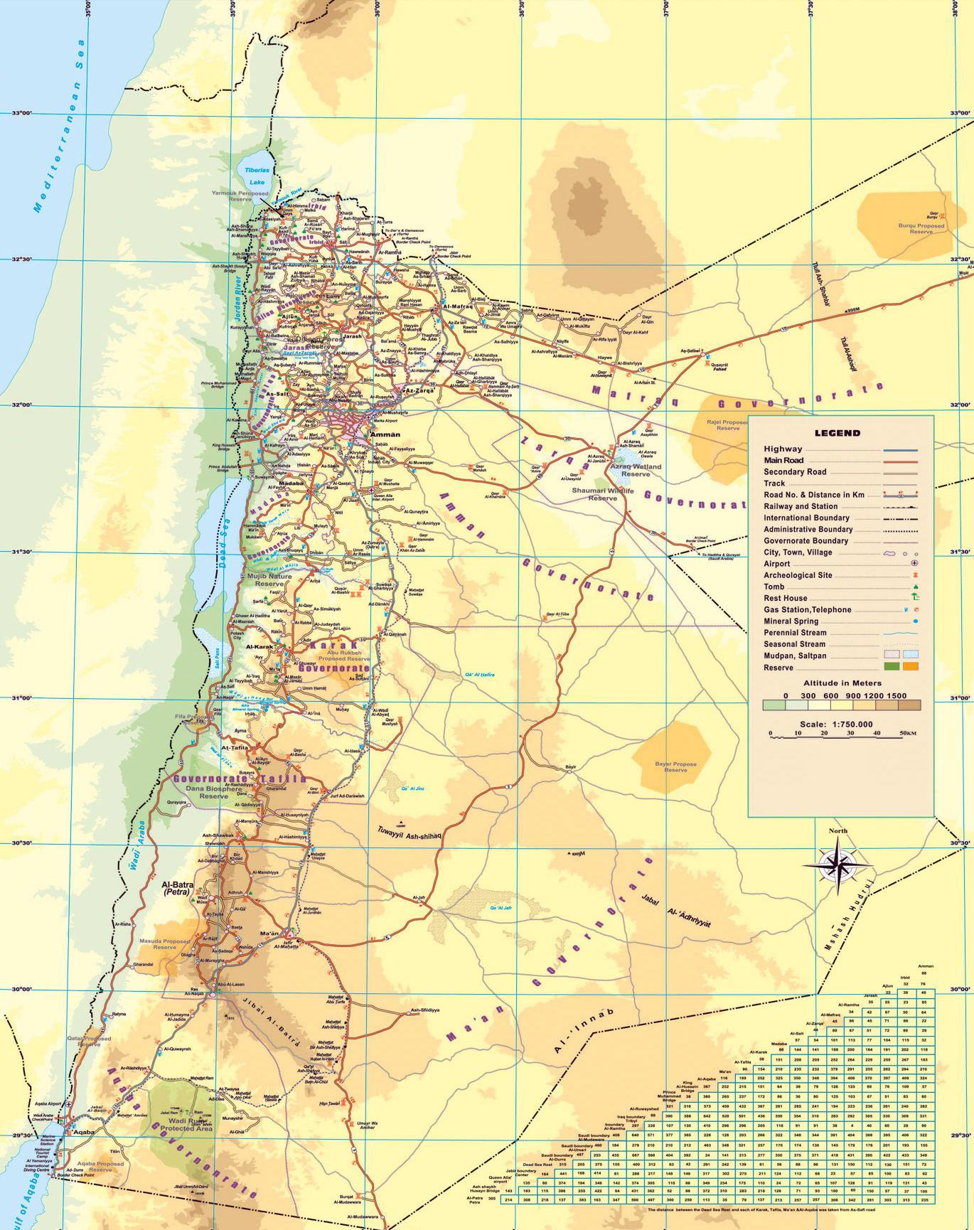 Jordanien Karte.Physische Karte Von Jordanien Karte Physikalische Karte Von