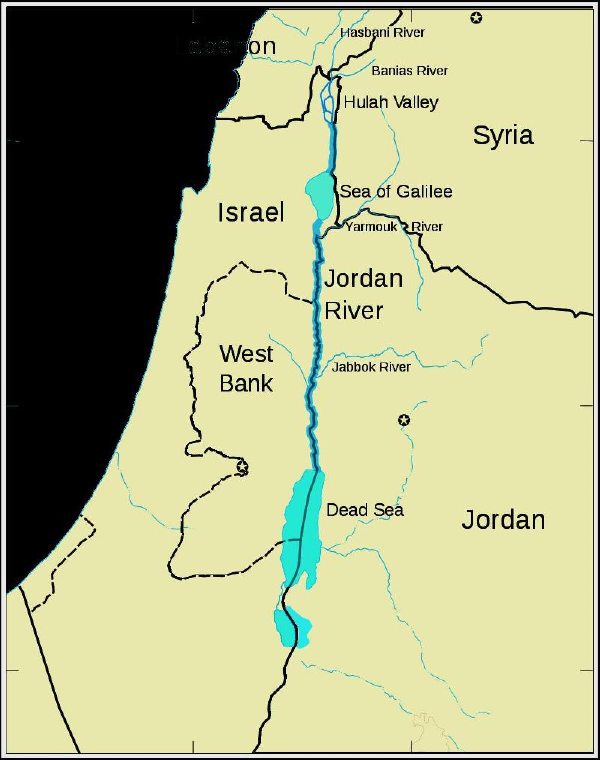 Jordan-river-Karte - Jordan, middle east map (West-Asien - Asia)