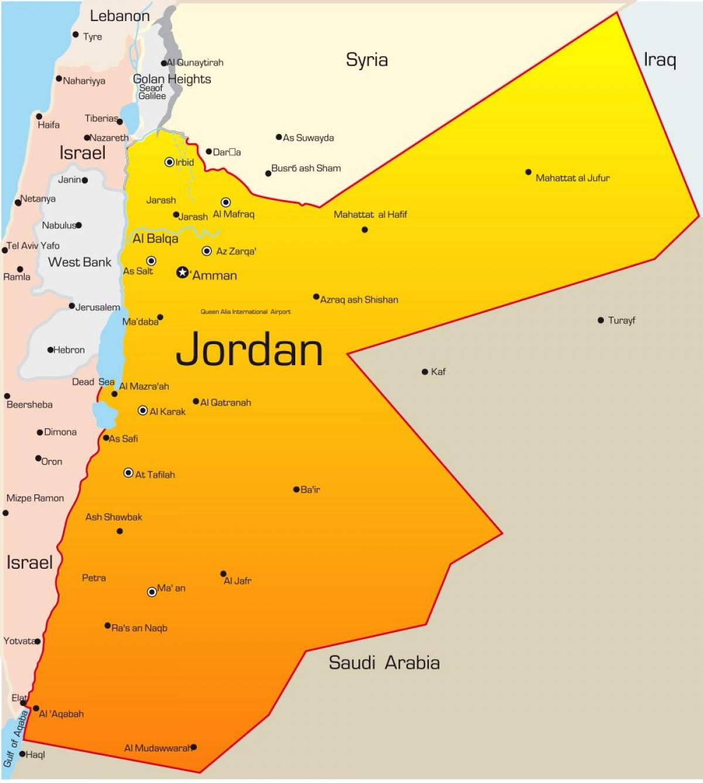 Jordan Middle East Map Karte Von Jordanien Im Nahen Osten