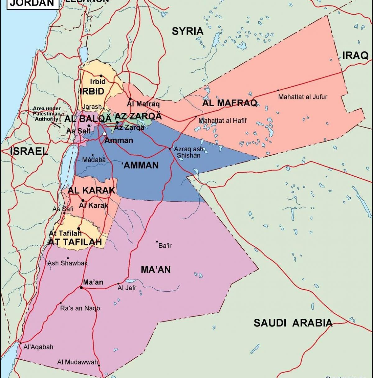 Politische Karte Asien.Jordan Politischen Landkarte Karte Von Jordanien Politischen West